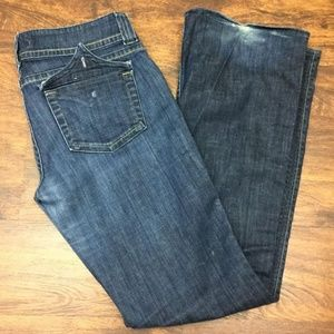 HUDSON Vintage Tatter ClassicRise Wide Ankle Jeans